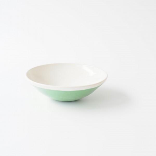 Schale Müslischale ø 15 cm H 5 cm innen weiß außen grün