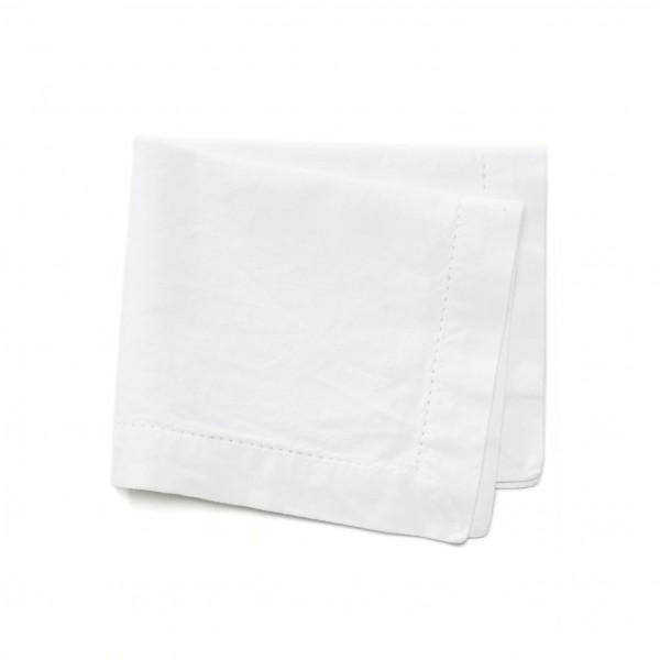 Serviette Platzdeckchen Baumwolle weißbeige creme 35 x 42 cm , Lochzeile umlaufend