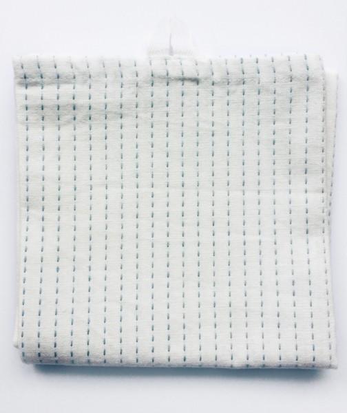 Geschirrtuch beige mit blauen Stick-Streifen 50 x 70 cm