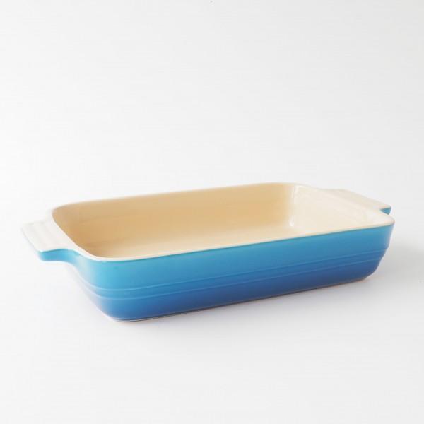 Auflaufform blau marseille L 32 x B 24 cm inkl. Griffe H 5,5 cm Innen beige