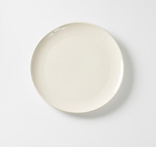 Teller flach ø 27,5 weiß creme Innen glänzend außen matt, Steinzeug