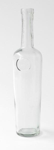 Flasche Glas 250ml vintage verkratzt mit ovaler Labelfläche