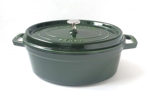 Topf Cocotte Gusseisen, basilikumgrün grün, glänzend ø ca. 29 cm oval