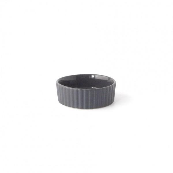 Auflaufform ø 8,5 cm H 3cm rund Keramik schwarz, gerillter Rand