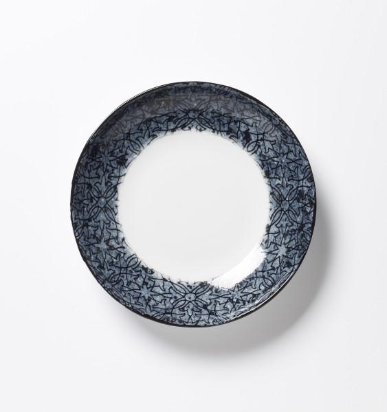 Suppenteller tiefer Teller blaues Muster auf weißemTeller ø 20,5 cm