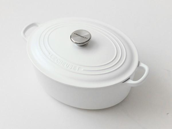 Topf Bräter mit Deckel Gusseisen weiß matt oval ø ca. 27 cm
