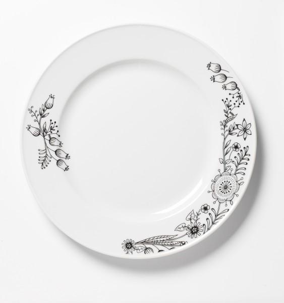 Frühstücksteller weiß mit Blumendekor ø 27,5 cm