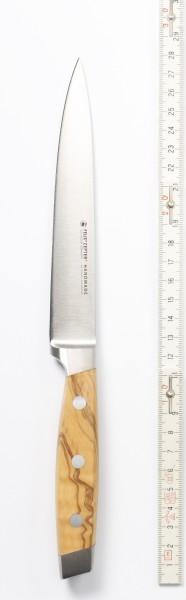 Kochmesser, Zubreitungsmesser, Griff: Olivenholz, Klingenlänge 15 cm