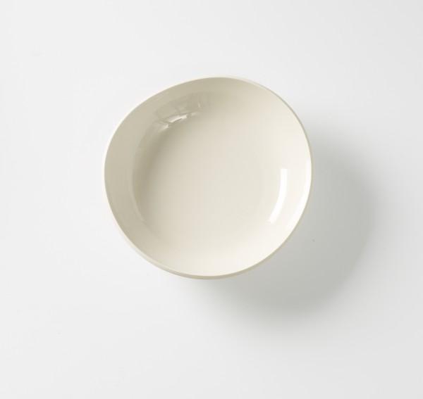 Suppenteller ø 22 cm Schale weiß creme Innen glänzend außen matt, Steinzeug