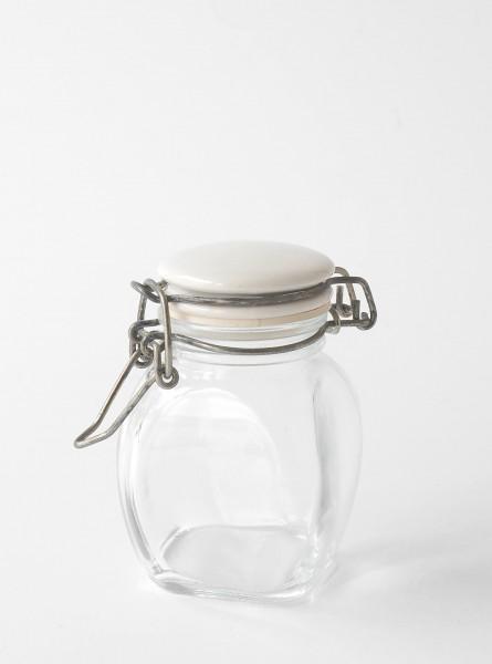 kleines Vorratsglas Bügelglas Deckel Porzellan weiß H 9 cm ø 5 cm quadratisch bauchig