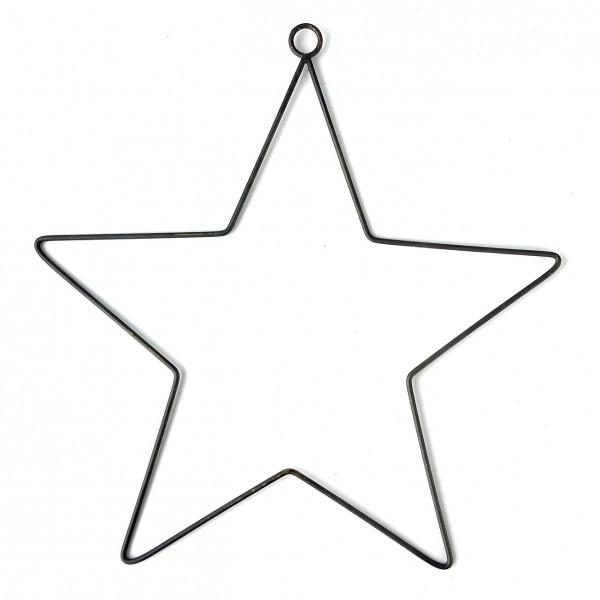 Stern L ca. 31 cm Draht mit Aufhängloch schwarz