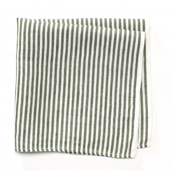 Serviette, kleines Küchentuch Leinen grün beige 50 x 50 cm