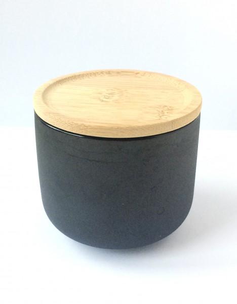 Tasse Becher, Porzellan, schwarz, außen matt innen glänzend mit Bambusholzdeckel
