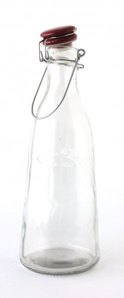 Bügelflasche Glas Deckel Keramik rot, 1 L