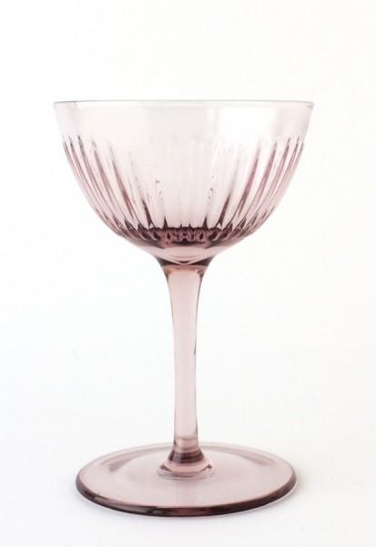 Champagnerschale Glas bordaux dunkel rosa H 14 cm ø 9 cm