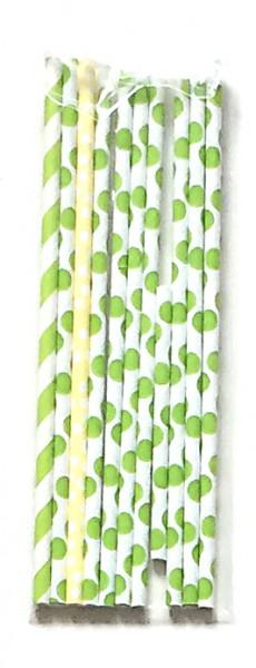 Strohhalme Papier grün und 1 gelber weiße Punkte, Streifen, Set mit 11 Stück