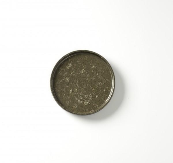 Teller ø 17 cm H 2,5 cm grün braun geflecktes Dekor