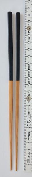 Stäbchen L 22,5 cm hellbraun Bambus mit schwarzem Farbteil alle Seiten eckig 1 Paar