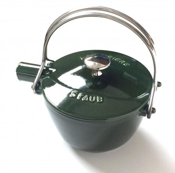 Teekessel Teekanne Gusseisen basilikumgrün grün glänzend, inkl. Teesieb