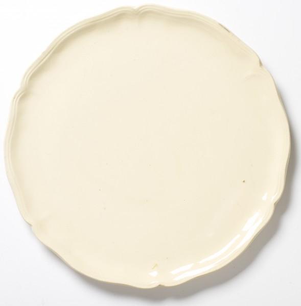 Kuchenplatte großer Teller, ø 34 cm, beige, glänzend, vintage