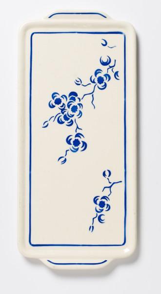 Platte Kuchenplatte beige oval mit blauem Blumenstrauß L 22 x B 13,5 cm