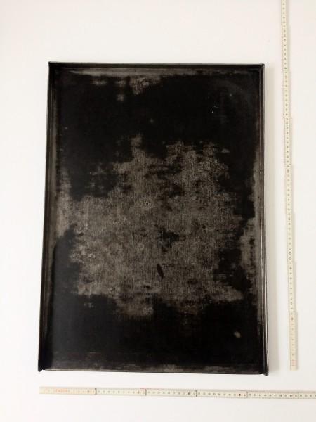 L 60 x B 41,5 cm Untergrund, Backblech Metall schwarz fleckig