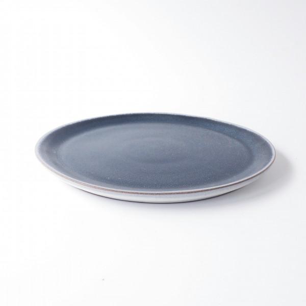 Teller ø 27 cm blau matt Keramik Unterseite Rand weiß