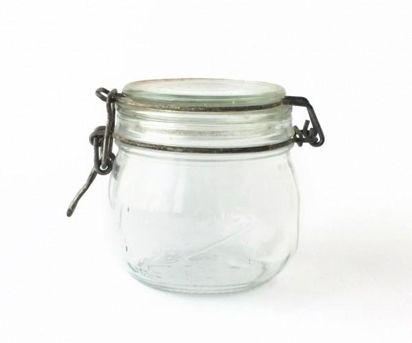 Bügelglas H 11 cm ø 10 cm 500 ml Marmeladenglas Einweckglas Metall teils rostig