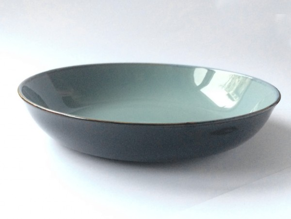 Teller ø 17,5 cm Randhöhe 3 cm hellblau graublau dunkelblau glänzend rund