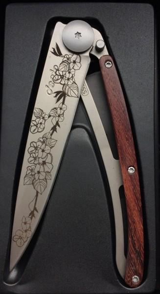 Messer Steakmesser Klappmesser silber Gravur florales Muster Blumen