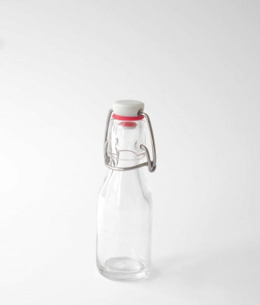 Bügelflasche Glas Deckel Plastik weiß rotes Dichtegummi 0,1 L