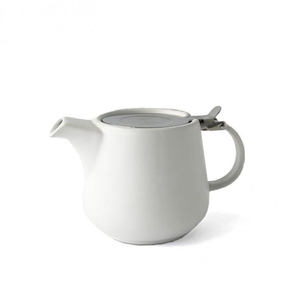 Teekanne, Kanne, Porzellan, weiß, matt 600ml inkl. Teesieb