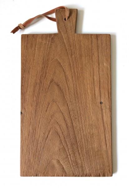 Schneidebrett, Küchenbrett, Holz, braun, dunkel, fleckige Gebrauchsspuren