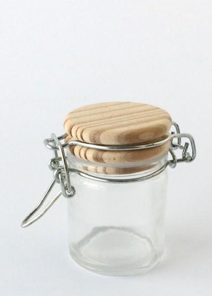 kleines Vorratsglas Bügelglas Deckel Holz H 6,5 cm ø 4,5 cm