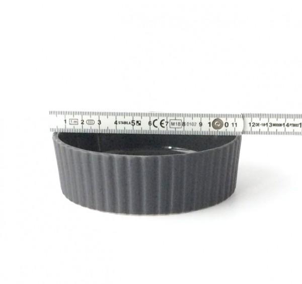 Auflaufform ø 11cm H 3,5 cm rund Keramik schwarz, gerillter Rand