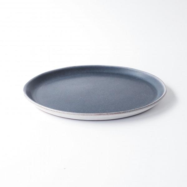 Teller ø 25,5 cm blau matt Keramik Unterseite Rand weiß