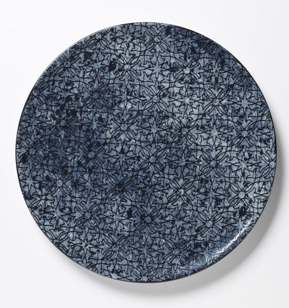 großer Teller Platte Essteller blaues Muster auf blauem Teller ø 30 cm