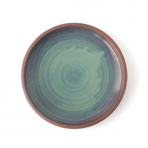Teller ø 24 cm blaugrün mit braunem Rand