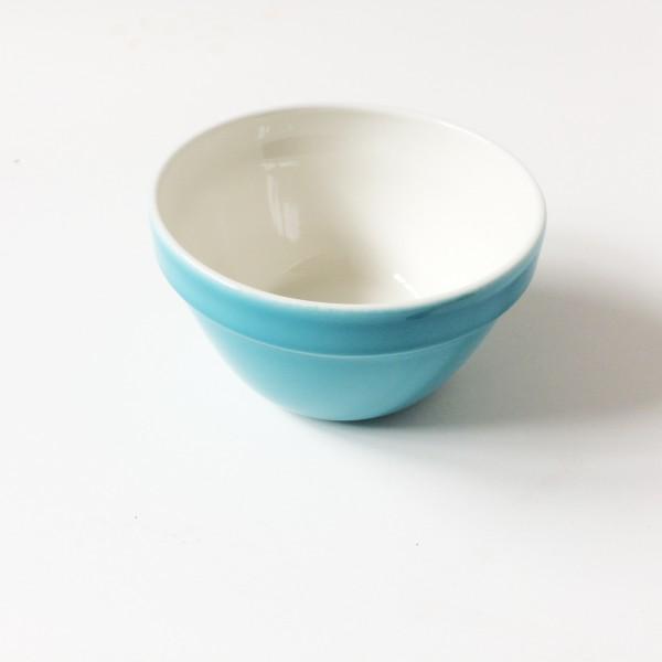 Schale bowl türkis blau ø 15,5 cm H 9cm innen beige