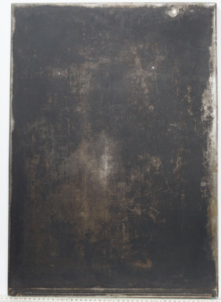 L 63 x B 45 cm Untergrund, Backblech Metall schwarz fleckig
