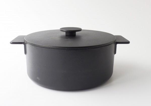 Topf mit Deckel ø 26 cm 4,6L, Gusseisen Emaille schwarz