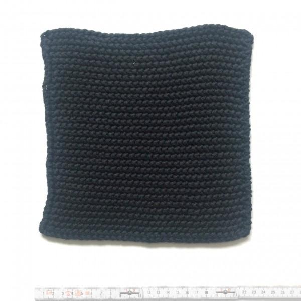 Topflappen schwarz gestrickt 22 x 22 cm