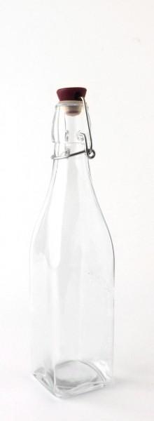 Bügelflasche Glas Deckel Keramik grau 0,5 L eckig