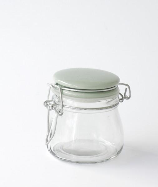 kleines Vorratsglas Bügelglas Deckel Porzellan türkis grün H 8 cm ø 6 cm bauchig