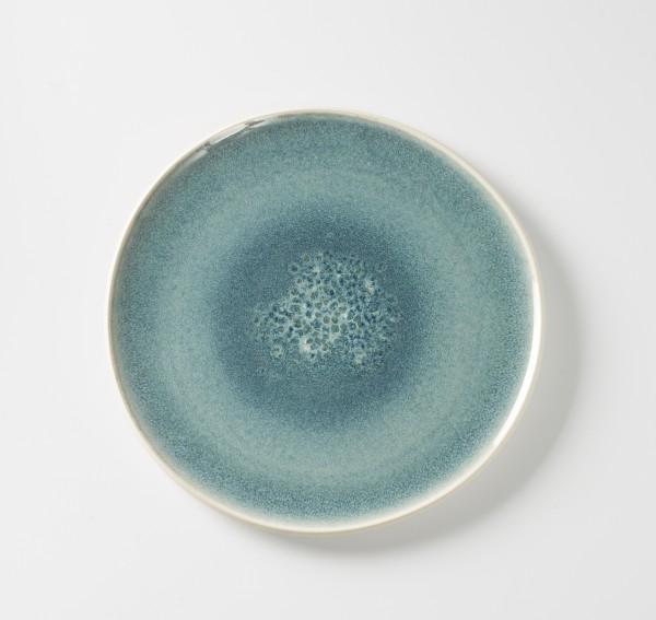Teller Platte flach ø 30 cm blau aquamarine, Außen creme unglasiert Steingut