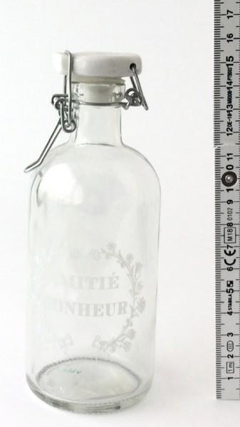 Bügelflasche H 15,5 cm Glas Schrift: Amitié Bonheur Porzellandeckel weiß