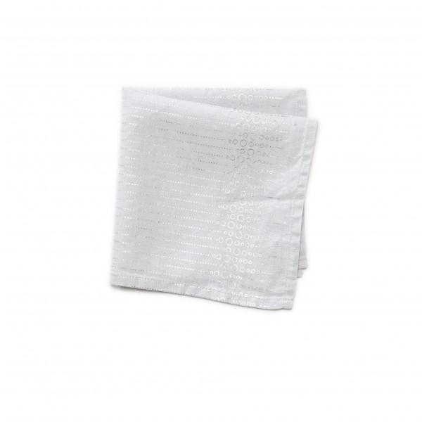Serviette Baumwolle weißgrau mit Silberaufdruck Kreise & Streifen, 39 x 39 cm
