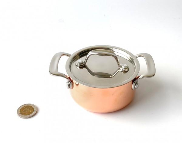 Mini Topf mit Deckel Kupfer Edelstahl ø 6 cm H 5 cm, 0,350 L