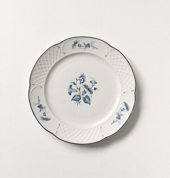Frühstücksteller kleiner Teller weiß beige mit blauen Blumen ø 20,5 cm