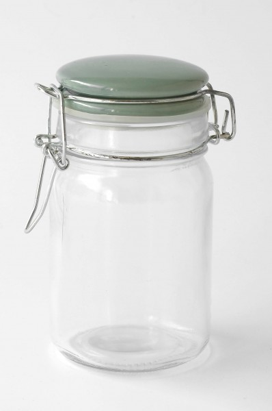 Vorratsglas Bügelglas Deckel Porzellan türkis grün H 12 cm ø 6 cm